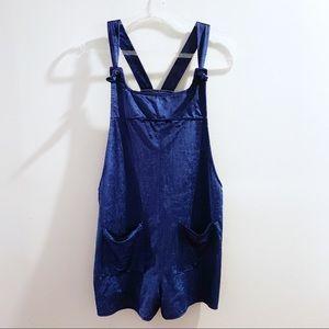 Love Riche Blue Velvet Cord Overall Shorts